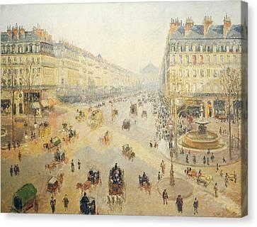Avenue De L'opera In Paris Canvas Print by Camille Pissarro