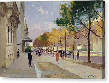 Avenue Montaigne, Paris  Canvas Print by Jules Ernest Renoux