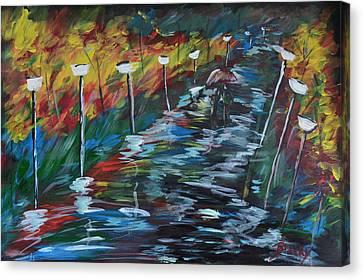 Avenue Of Shadows Canvas Print by Donna Blackhall