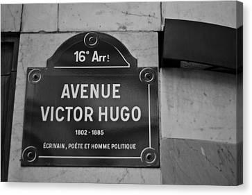 Avenue Victor Hugo Paris Road Sign Canvas Print by Georgia Fowler