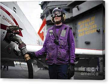Aviation Boatswains Mate Fuels A T-45c Canvas Print by Stocktrek Images