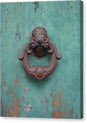 Avignon Door Knocker On Green Canvas Print by Ramona Johnston