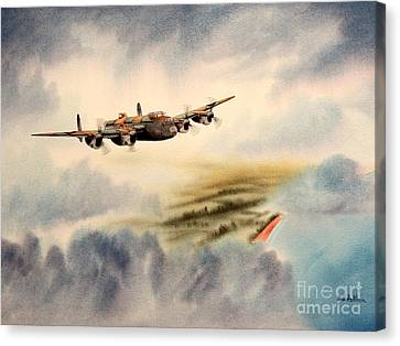 Avro Lancaster Over England Canvas Print by Bill Holkham