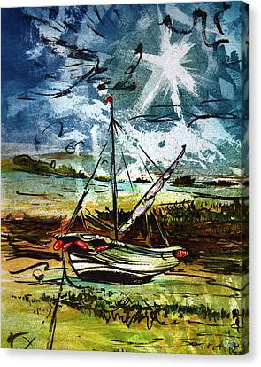Awaiting The Tide Canvas Print by William Rowsell