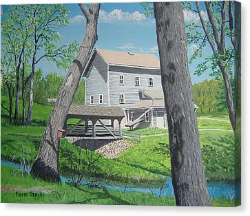 Award-winning Painting Of Beckman's Mill Canvas Print by Norm Starks