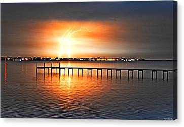 Awesome Lightning Electrical Storm On Sound Canvas Print by Jeff at JSJ Photography