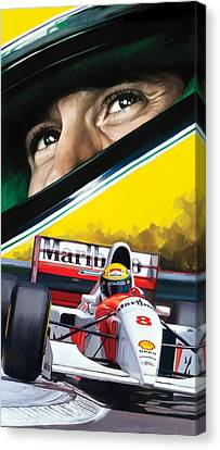Ayrton Senna Artwork Canvas Print by Sheraz A