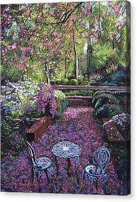 Azaleas And Cherry Blossoms Canvas Print by David Lloyd Glover