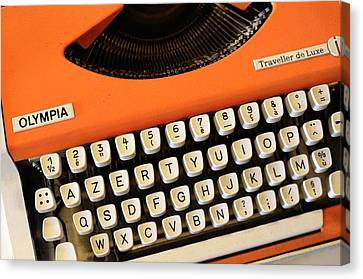 Azerty Keyboard Typewriter Canvas Print by Chris Hellier