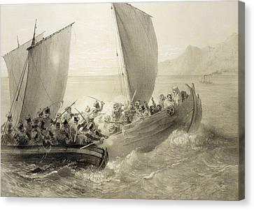 Sailboats Canvas Print - Azov Cossacks Boarding A Turkish Corsair by Grigori Grigorevich Gagarin