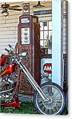Canvas Print featuring the photograph Aztec And The Gas Pump by Lesa Fine