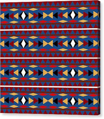 Santa Fe Cowgirl Canvas Print - Aztec Blue Pattern by Christina Rollo