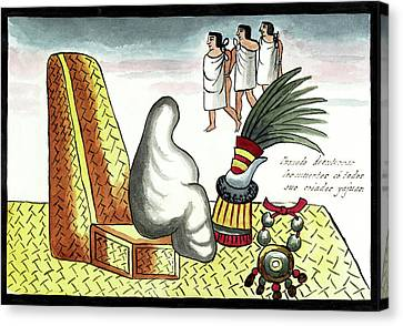 Sacrificial Canvas Print - Aztec Burial Ritual by Library Of Congress