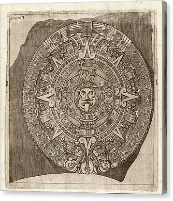 Aztec Calendar Stone Canvas Print by Library Of Congress