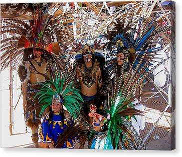 Aztec Performers O'odham Tash Casa Grande Arizona 2006  Canvas Print by David Lee Guss