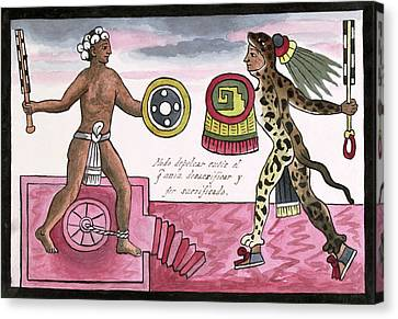 Sacrificial Canvas Print - Aztec Sacrificial Fight by Library Of Congress