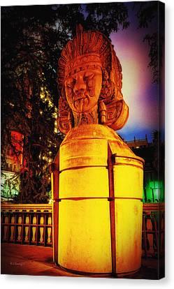 Aztec Statue Canvas Print by Wayne Kondoff