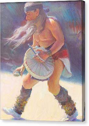 Aztec Sun Dancer Canvas Print by Ernest Principato