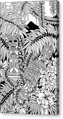 Aztec Warriors Totems Doodle Art Canvas Print by BluedarkArt Lem
