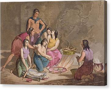 Aztec Women Making Maize Bread, Mexico Canvas Print by Gallo Gallina