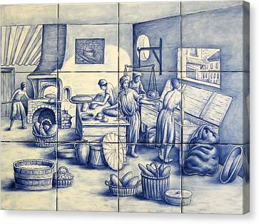 Azulejo Portuguese Bakers Tile Mural Canvas Print by Julia Sweda