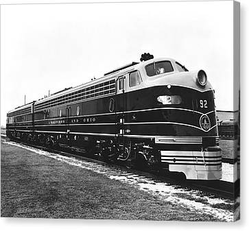 B & O New Diesel Engines Canvas Print by Underwood Archives
