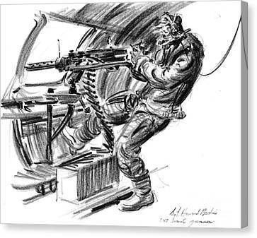 B-17 Waist Gunner 1942 Canvas Print by Padre Art