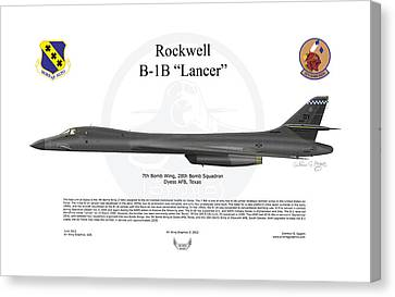 B-1b Lancer 7bw Canvas Print by Arthur Eggers