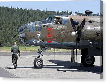 B-25 Bomber Pre-flight Check Canvas Print by Daniel Hagerman