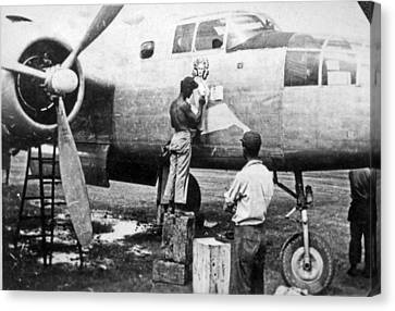 B-25 Pinup Nose Art Canvas Print by Underwood Archives