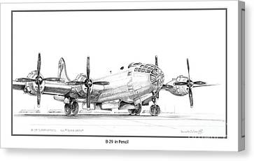 Canvas Print featuring the drawing B-29 by Kenneth De Tore