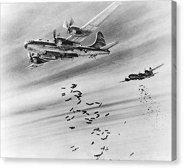 B-29s Bombing Burma Canvas Print by Underwood Archives