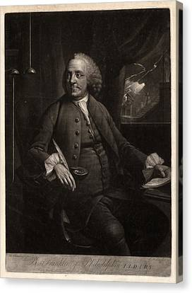 Benjamin Franklin Canvas Print - B. Franklin Of Philadelphia L.l.d. F.r.s.  M. Chamberlin by Litz Collection
