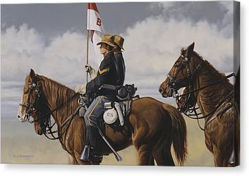 Canvas Print featuring the painting B Troop by Ron Crabb