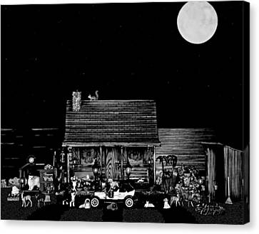 B/w Log Cabin And Outhouse Scene With The Classic Old Vintage 1908 Model T Ford Canvas Print by Leslie Crotty