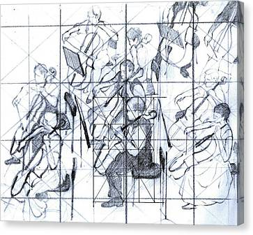 B01. Producing A Large Composition On Canvas - Initial Layout Canvas Print