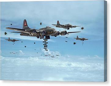 B17 - Mighty 8th Arrives Canvas Print by Pat Speirs