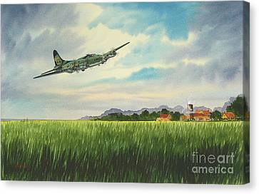 B17 Over Norfolk England Canvas Print