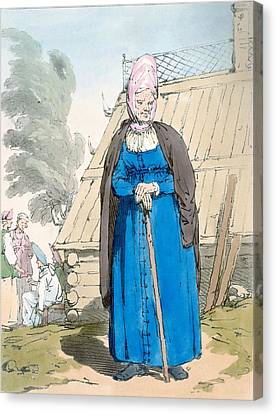 Old Cabins Canvas Print - Baba Or Old Woman by John Augustus Atkinson