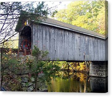 Babbs Covered Bridge In Maine Canvas Print by Catherine Gagne