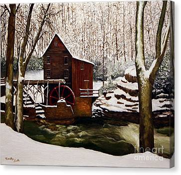 Babcock Mill In The Snow Canvas Print by Timothy Smith