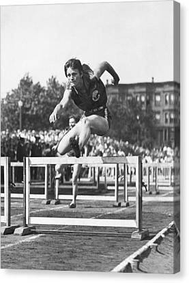 Babe Didrikson High Hurdles Canvas Print by Underwood Archives