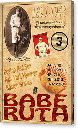 Babe Ruth Canvas Print by Andrew Fare