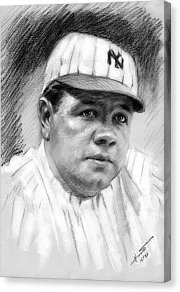 Canvas Print featuring the drawing Babe Ruth by Viola El