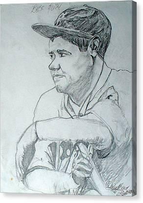 Babe Ruth Canvas Print by Darlene Ricks- Parker
