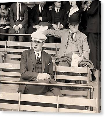 Babe Ruth In The Stands At Griffith Stadium 1922 Canvas Print