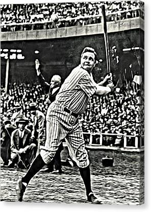 Babe Ruth Painting Canvas Print by Florian Rodarte
