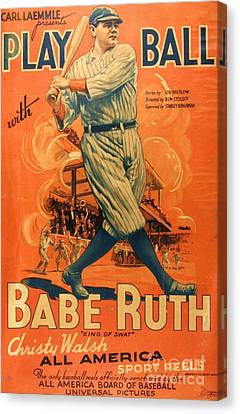 Babe Ruth - Play Ball Canvas Print by Roberto Prusso