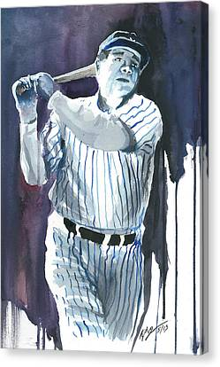 Babe Ruth Watercolor 2 Canvas Print by Kyle Gray
