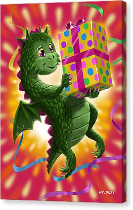 Baby Birthday Dragon With Present Canvas Print by Martin Davey